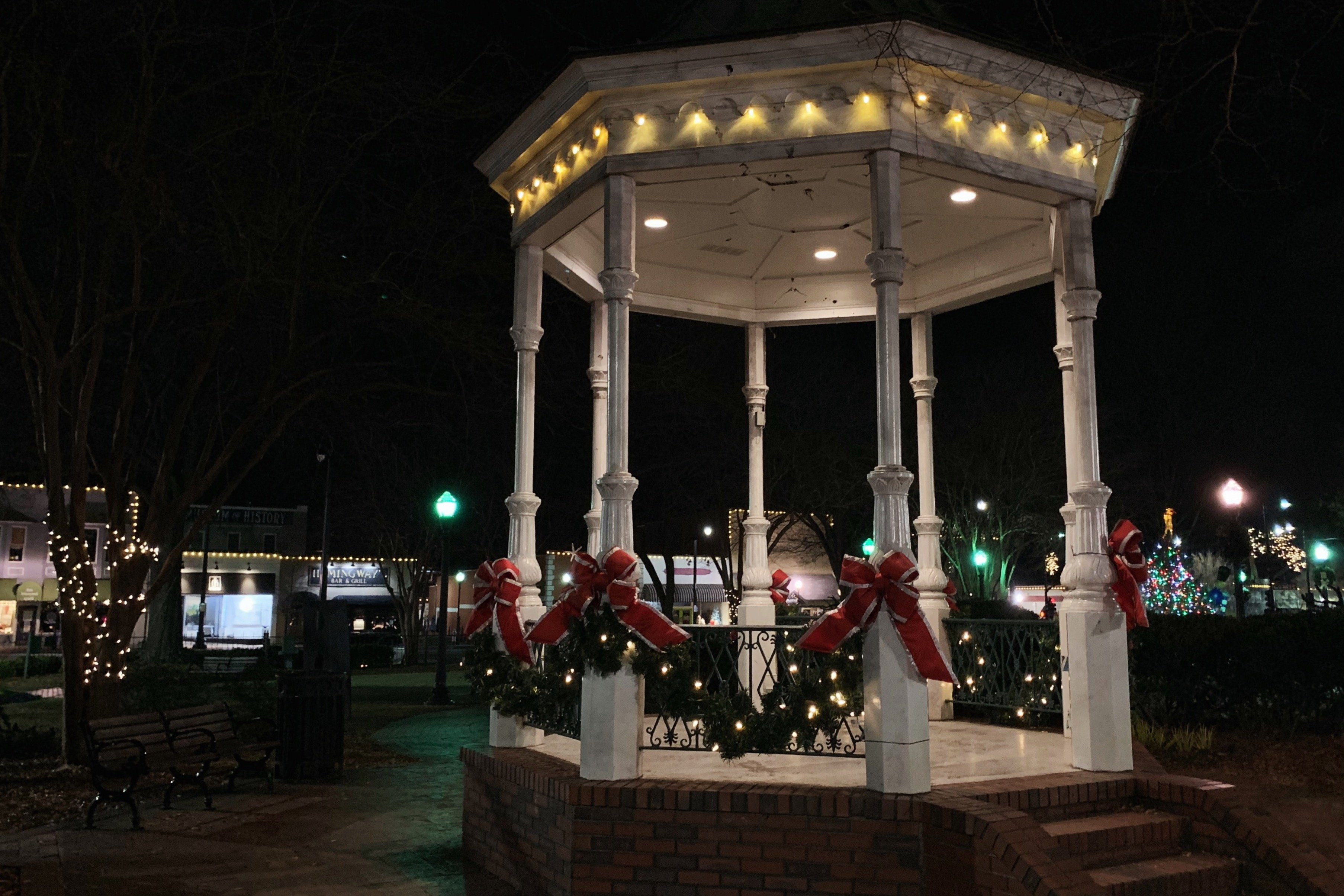 pavilion on marietta square decked out in holiday garland and lights